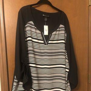 Plus size blouse-Black with white stripes